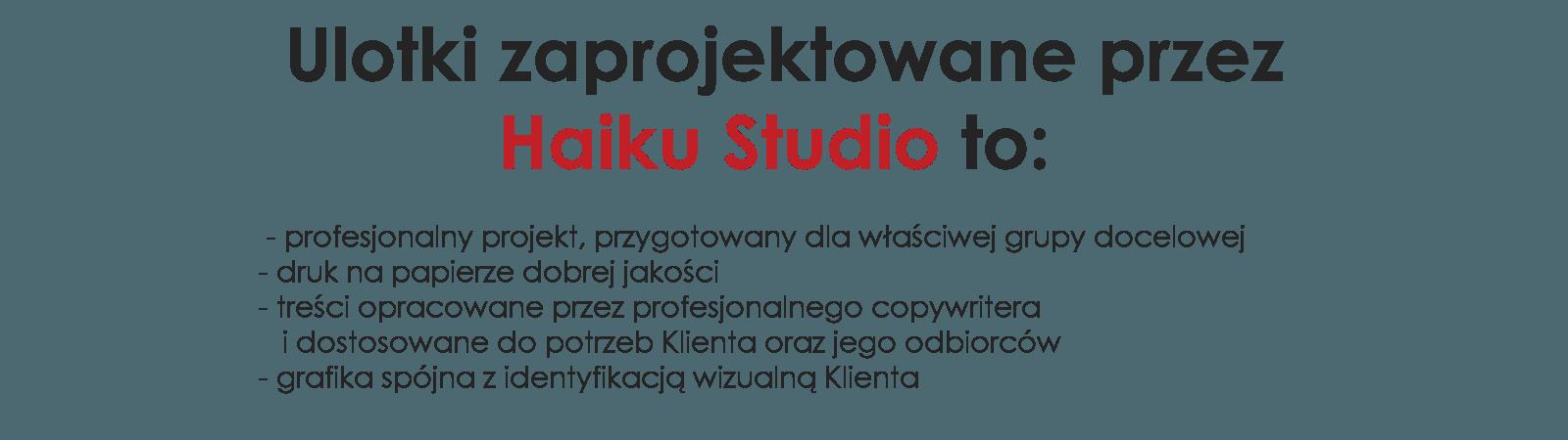 jakie są ulotki zaprojektowane przez Haiku Studio