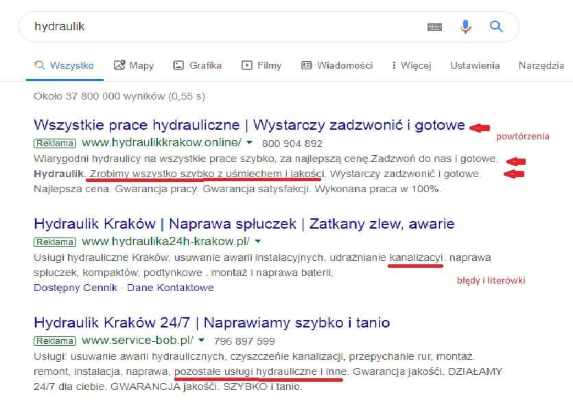 widok wyników wyszukiwania w google frazy hydraulik